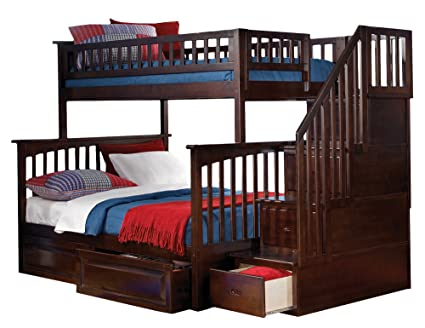 Amazon Com Columbia Staircase Bunk Bed With 2 Raised Panel Bed