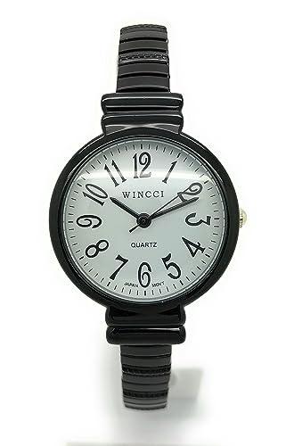 Reloj de pulsera elástico para mujer, con números grandes: Amazon.es: Relojes
