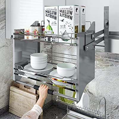 Buy Whifea Pull Down Dish Rack System Spice Rack Kitchen Shelf 2 Tier Upper Cabinet Pull Out Organizer For Cabinet Width 34 1 4 Online In Turkey B08h1rl8bq