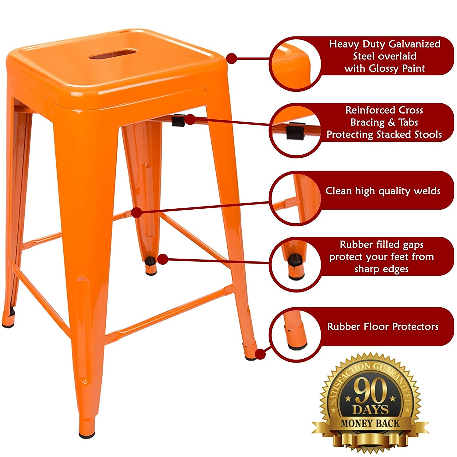 Amazon.com: 24 Counter Height Bar Stools! (ORANGE) by UrbanMod, [Set Of 4]  Stackable, Indoor/Outdoor, Kitchen Bar Stools,! 330LB Limit, Metal Bar  Stools!