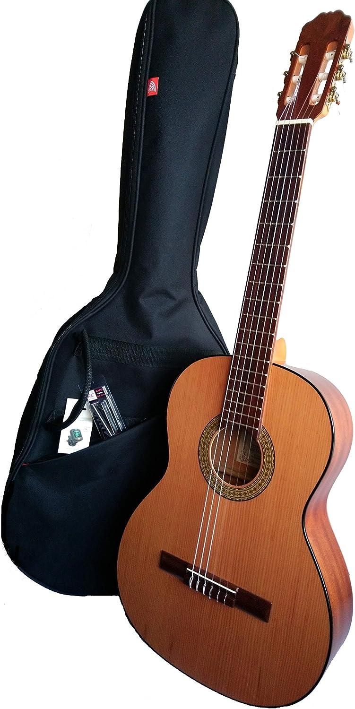 MARCE PACK INICIACION Guitarra Clasica de estudio (caja armónica de madera de Sapelly, un perfil en negro, diapasón madera tintado. Tamaño adulto) + Funda nylon+afinador cromático digital + cejilla