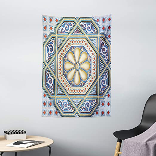 Amazon Com Ambesonne Moroccan Tapestry Image Of A Carving Art Flower Doorway Entrance Geometric Wall Hanging For Bedroom Living Room Dorm Decor 40 X 60 Blue Pale Yellow Redwood Home Kitchen