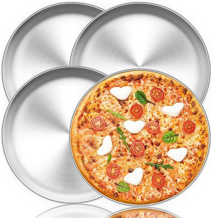 Teamfar Pizza Pfanne 30 5 Cm Rund Pizzaofen Backblech Edelstahl Für Zuhause Restaurant Party Gesund Strapazierfähig Spülmaschinenfest Leicht Zu Reinigen 4er Set Küche Haushalt