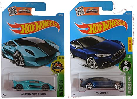 Amazon Com Hot Wheels 2016 Tesla Model S Blue Lamborghini Sesto