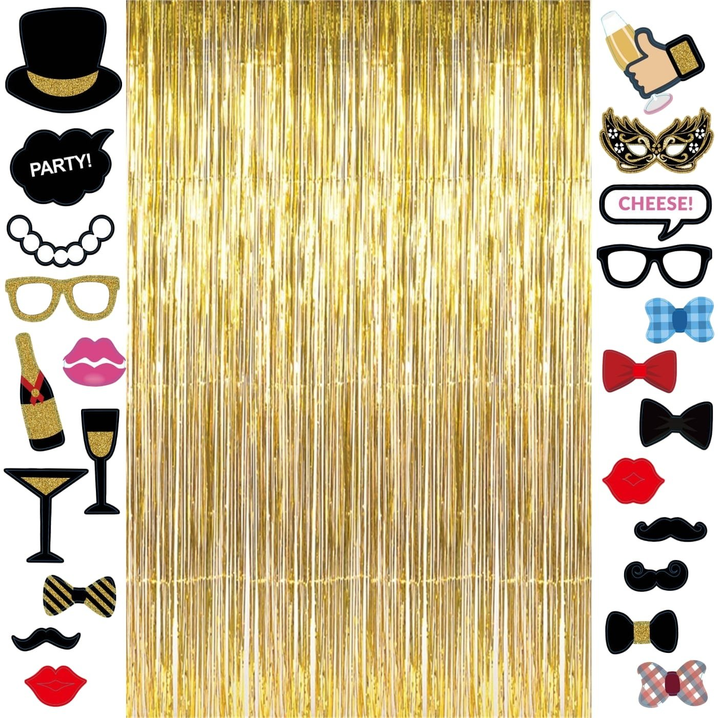 Long Metallic Gold Foil Fringe Tinsel Curtain Backdrop 3.2ft x 9.8ft and 23pcs Black and Gold PhotoBooth Props Wedding Engagement Decorations High School College Graduation Party Favors Supplies by Th Party Supply