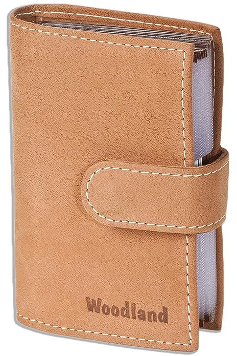 Woodland - caso de la tarjeta de crédito-XXL con 19 bolsillos para tarjetas de piel de ante suave, sin tratar