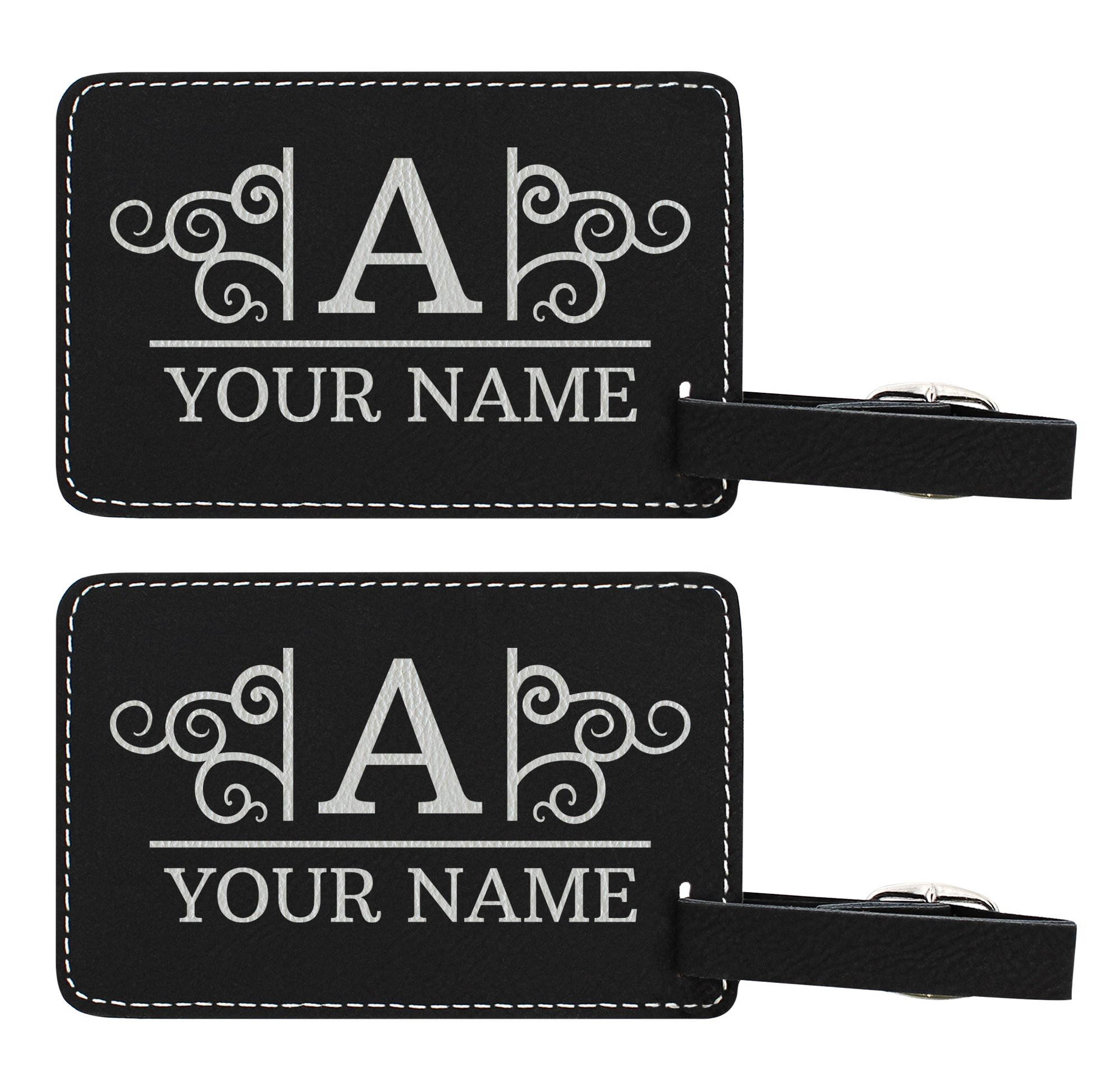 Personalized Luggage Tags Custom Initial & Name Personalized Gifts for Travelers Personalized 2-pack Laser Engraved Leather Luggage Tags Black