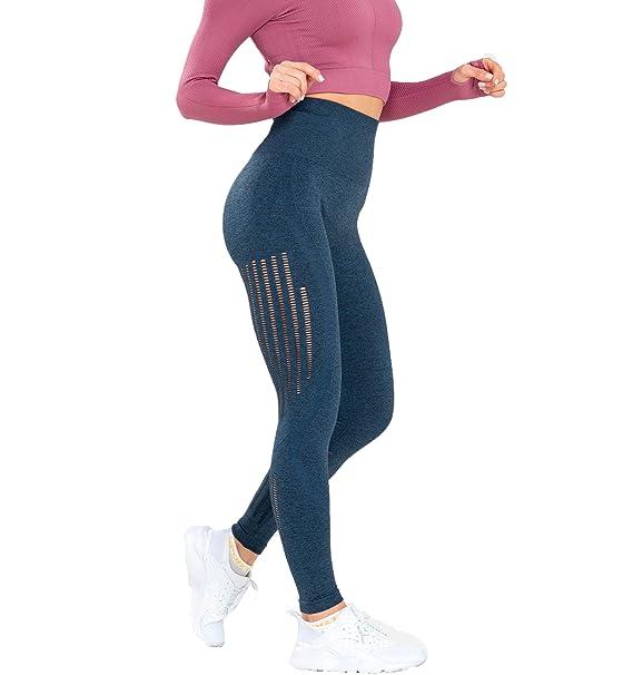 Urhapc Women's High Waist Seamless Leggings Ankle Yoga Pants Running Workout 4 Way Stretch Tights (Tummy Control+Turnup Hips+Blue) best yoga leggings