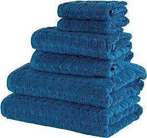 Bagno Milano 100% Turkish Cotton Jacquard Luxury Towel Set – Quick Dry Non-GMO Ultra-Soft, Plush and Absorbent Luxury Durable Turkish Towels Set (Navy Blue, 6 pcs Towel Set)