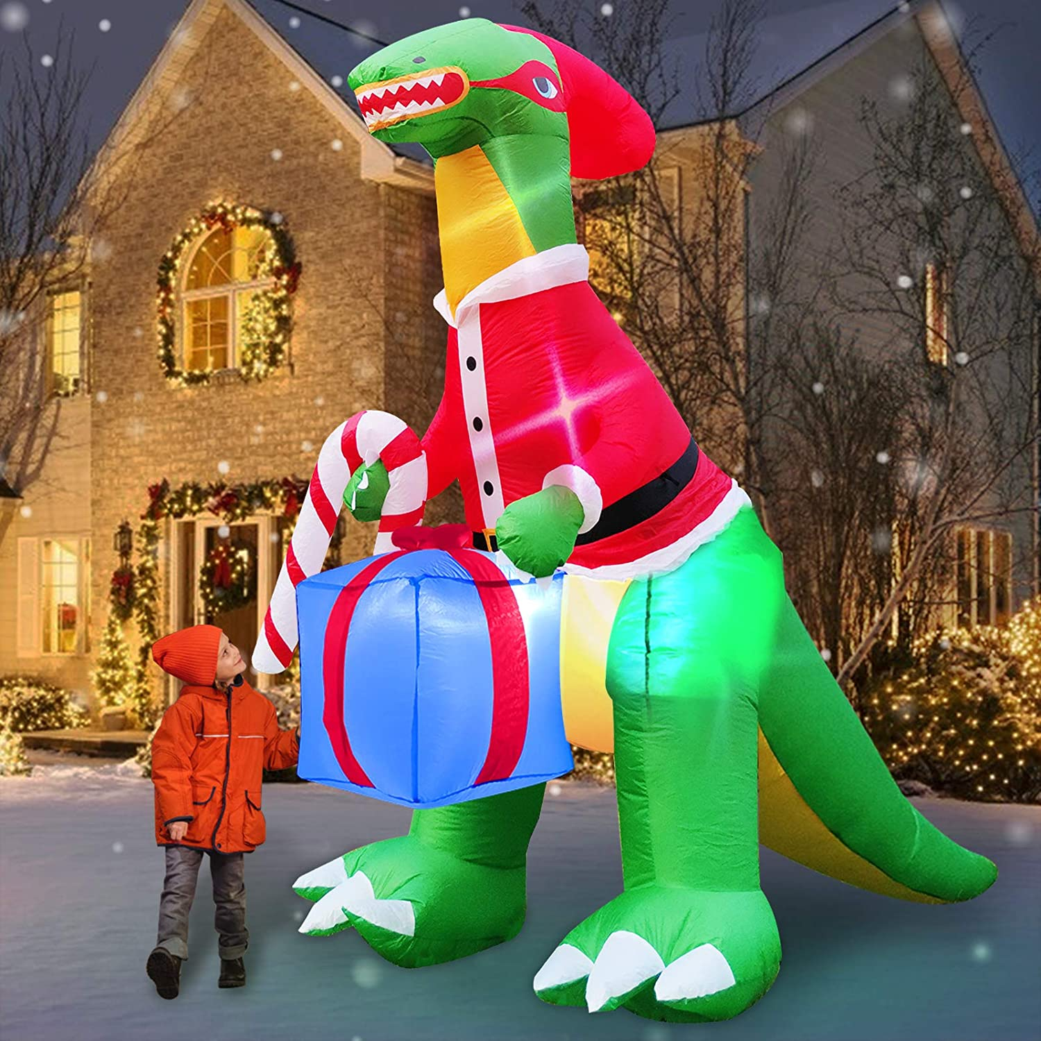 TURNMEON 8 Feet Dinosaur Christmas Inflatables Decor Outdoor Blow up Corythosaurus Holds Candy Cane with Tether Stakes LED Lighted Holiday Christmas Decoration Yard Garden Home Party Decor