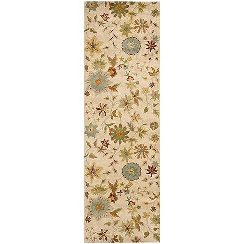 Safavieh Soho Collection SOH702A Handmade Ivory and Sage Premium Wool Area Rug 6 x 9