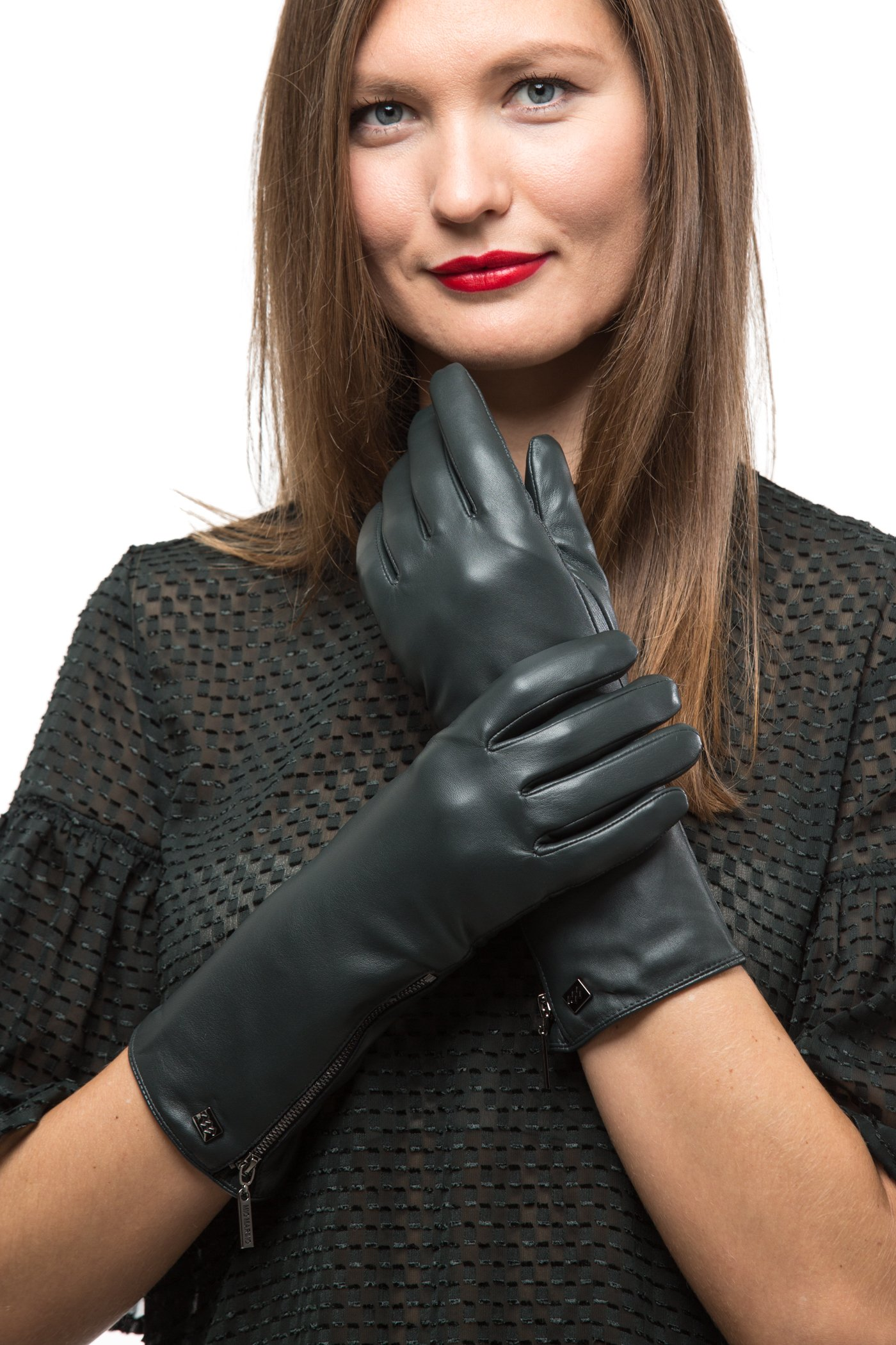 Long Sleeve Leather Zipper Gloves For Women, Touchscreen Cold Weather Long Sleeve Gloves - With Thinsulate Liner - Olive Green - Small