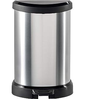 Curver Cubo de basura con pedal 40L, Metal, 27.8x32.9x67.7 ...