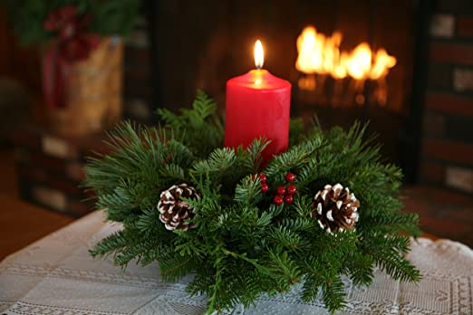 Christmas Tablescape Decor - Hand-made of fresh Maine balsam evergreens, real pinecones, faux holly berries, and a red candle for a small dining table centerpiece.
