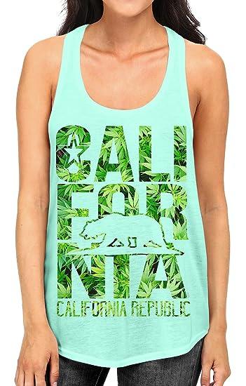 Junior's Weed Leaf California Republic Bear Tee B447 Mint Green Racerback Tank Top Small