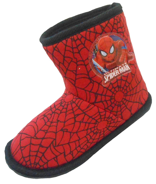 Boys Marvel Spider-Man Winter Slipper Boot Shoes Black Toddler Children Size UK 7 - 12