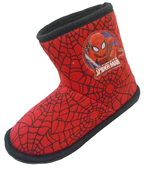 Niño Marvel Spider-Man Invierno Pantuflas Zapatos Negros bebé Infantil talla RU 7 - 12