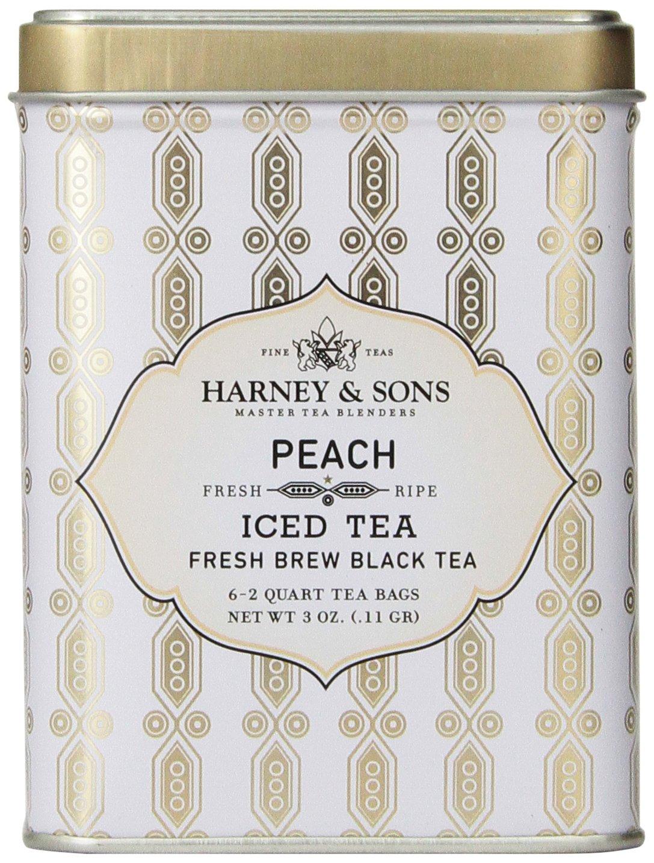 Harney & Sons Black Iced Tea, Peach, 6 Tea Bags by Harney and Sons