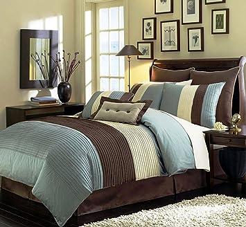 legacy decor 8 pieces blue beige brown luxury stripe comforter