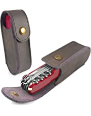 TUFF LUV Genuine Western Leather Case Pouch (2-4 Layer) for Victorinox Swiss Army Knife - Brown