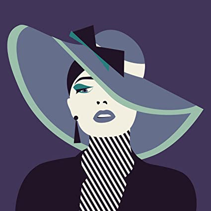 0991f7d23 Amazon.com: EzPosterPrints -Stylized Sexy Woman with Hat Posters Lady Model  Poster Printing - Wall Art Print for Home Office Decor - Black Ribbon -  16X16 ...