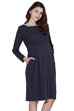 5c83ed3e58d14 Sweet Mommy Maternity and Nursing Boat Neck Knee Length Tuck Dress Navy, M