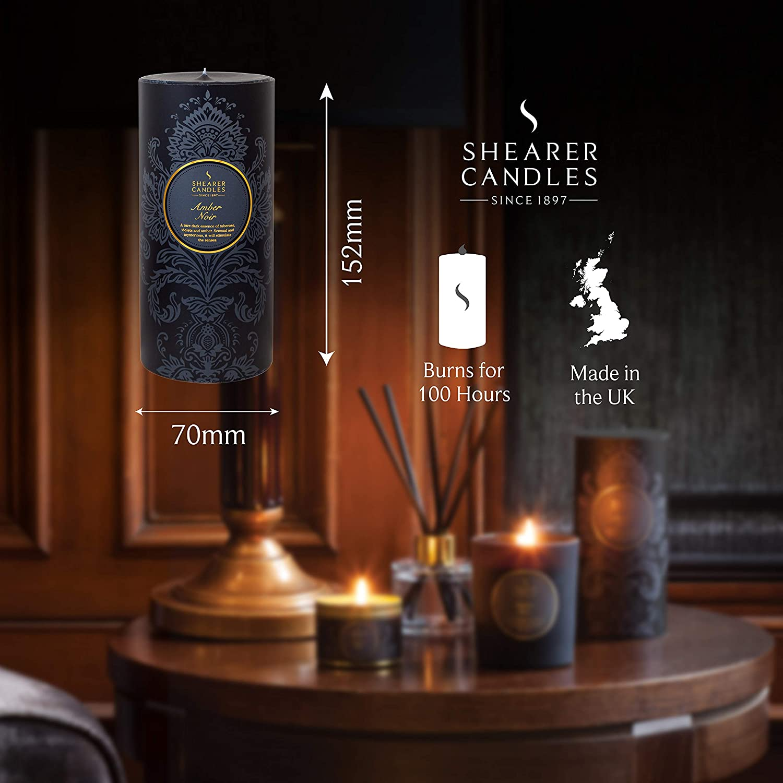 """Shearer Candles ámbar Noir oscuro Perfumado 6/"""" Vela del Pilar 100 hora Burn-Negro"""