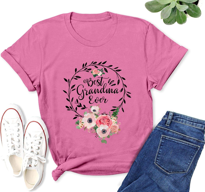 Best Grandma Ever Shirt for Women Floral Flower Grandma T-Shirt