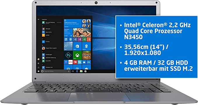 ODYS x620014 Laptop (Intel Celeron n3450, 32 GB de Disco Duro, 4 ...