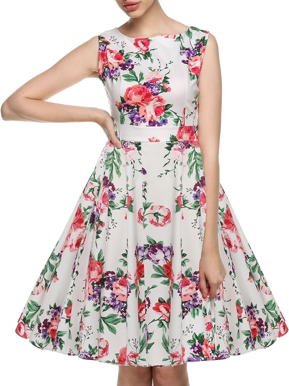ACEVOG Womens Retro V-Neck Sleeveless Floral 1950S Vintage Party Dress