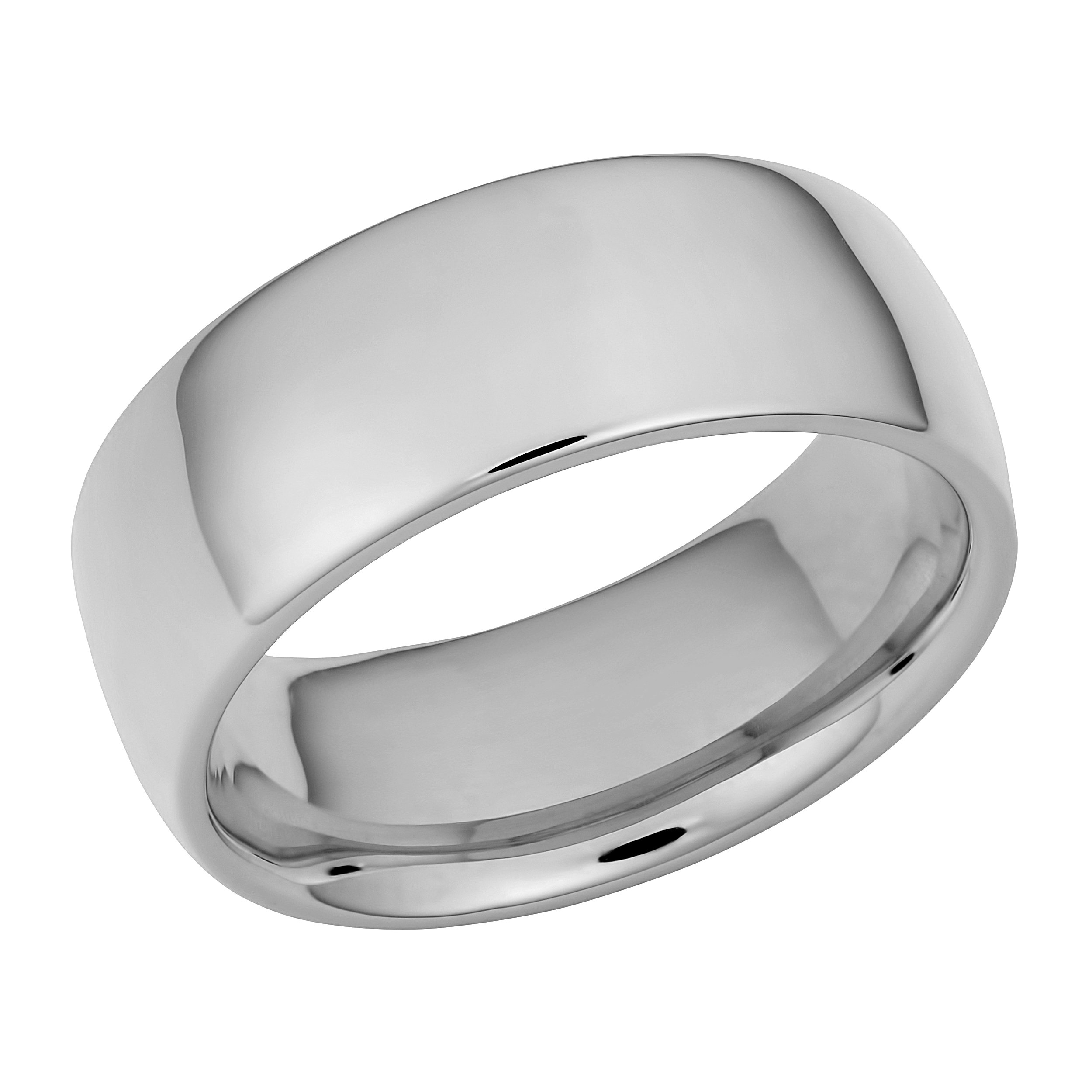 14k White Gold 8mm Comfort Fit Hollow Wedding Band (Size 13)
