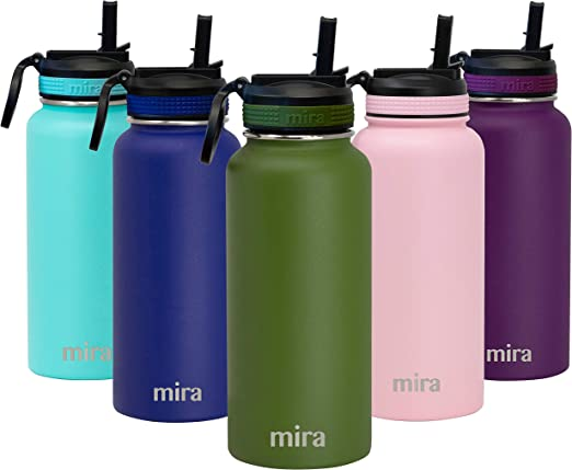 Amazon Com Mira 32 Oz Thermos Water Bottle With Straw Lid Hydro Vacuum Insulated Metal Thermos Flask Keeps Cold For 24 Hours Hot For 12 Hours Bpa Free Straw Lid Cap