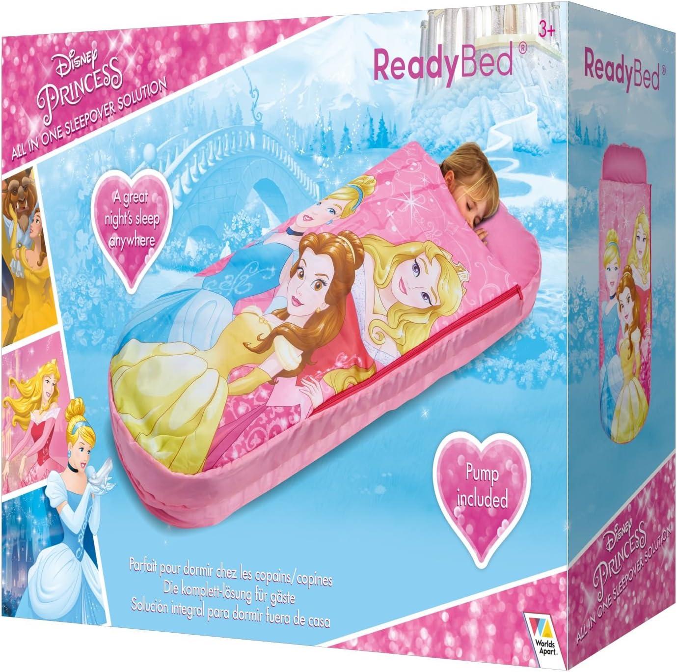 Worlds Apart Multicolore Poliestere WAP 150x62x20 cm Disney Princess 2 in 1 Lettino Gonfiabile e Sacco a Pelo