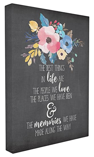 Stupell Home D/écor The Best Things in Life Watercolor Floral Stretched Canvas Wall Art 16 x 1.5 x 20 Proudly Made in USA