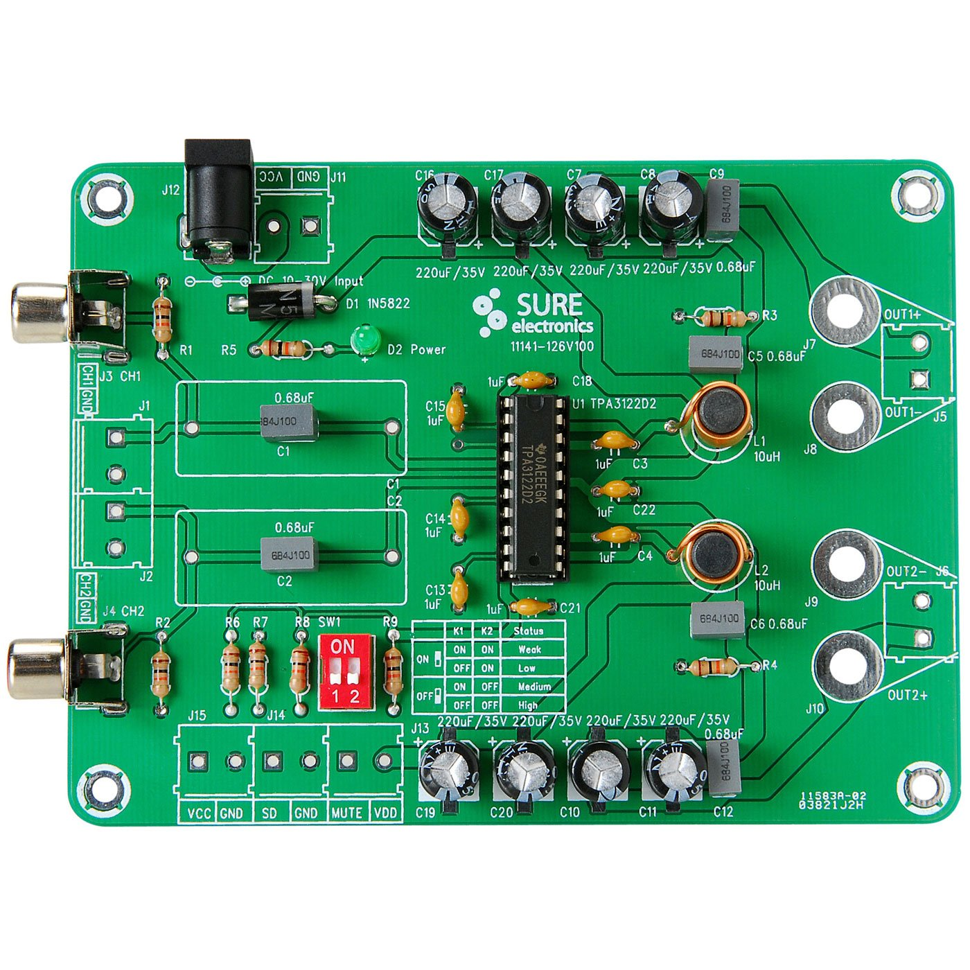 Parts Express 2x15w Class D Stereo Power Amp Kit Tpa3122 20w Amplifier Based Lm1876 Amplifiercircuit Circuit Home Audio Theater