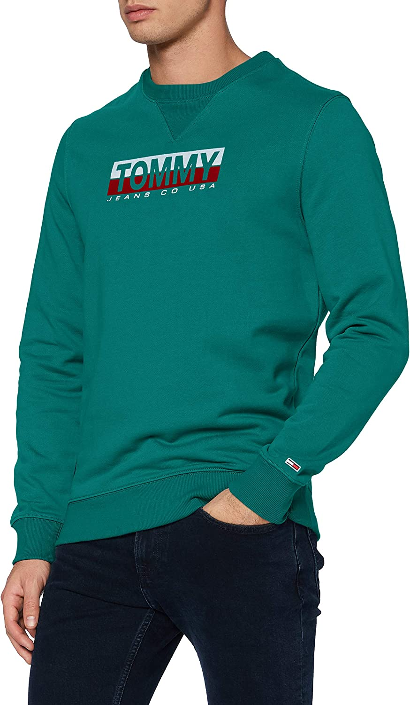 Tommy Jeans Tjm Essential Split Box Crew Maglione Verde Midwest S Uomo
