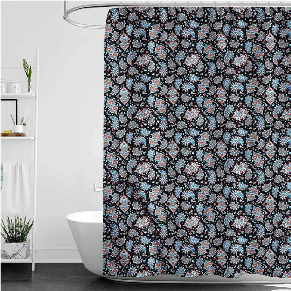 Interestlee Paisley Shower Curtain Persian Folklore Motifs Waterproof Summer Bath Decor, 108 x 72 Inch