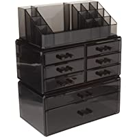 SONGMICS Makeup Organizer 8 Drawers Cosmetic Storage 3 Pieces Set Jewelry Display Case