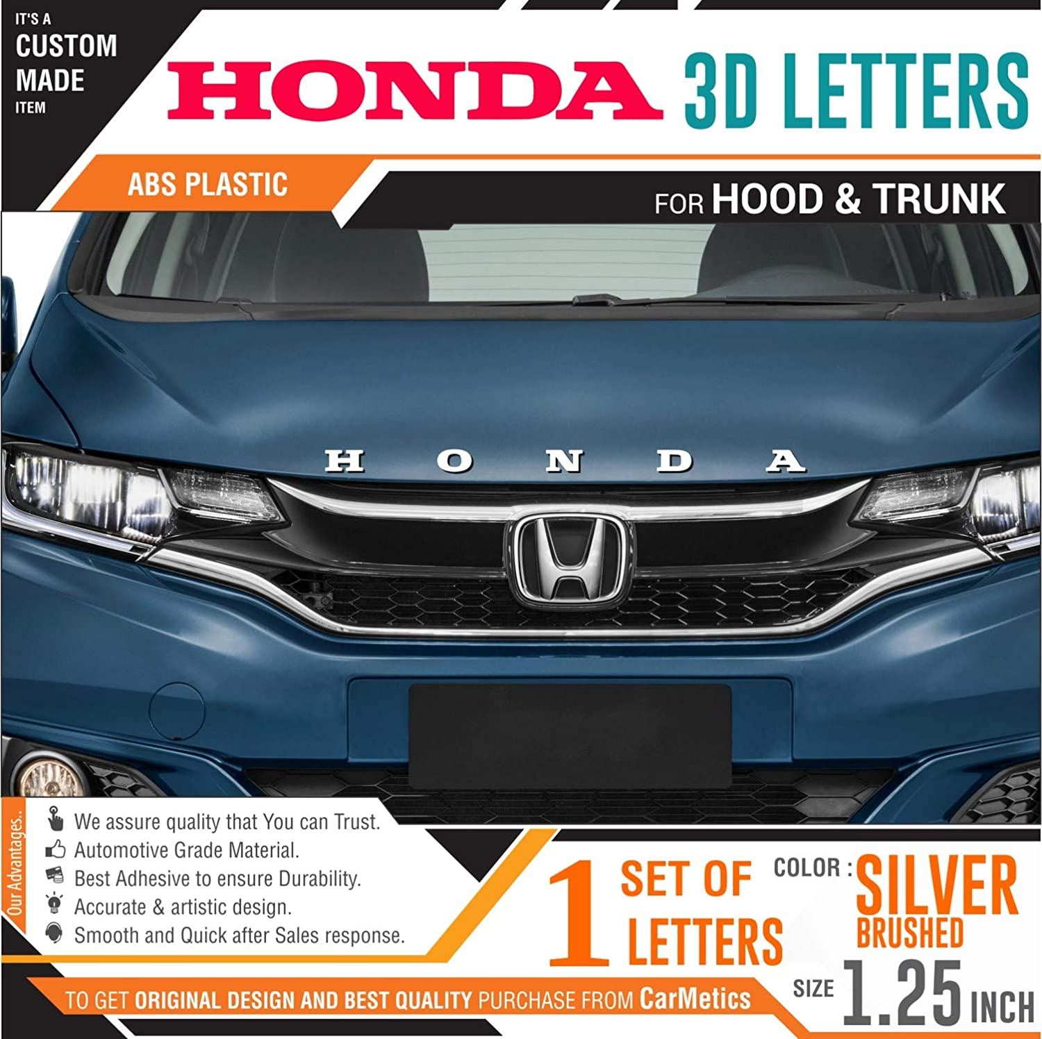 Carmetics honda 3d letters for honda amaze 2018 silver color 1 set honda 3d car sticker honda 3d letters honda logo emblem amazon in car motorbike