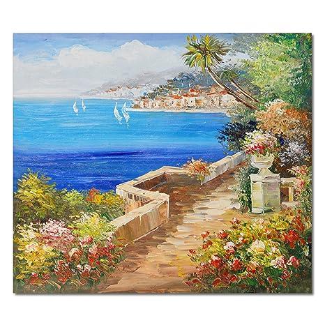 Raybre Art® 50 * 60 cm 100% Dipinti a mano Olio - Quadri su Tela come  Panorama Paesaggio Quadri Retrò Vintage Casa Fiori Mare - Decorazione della  ...
