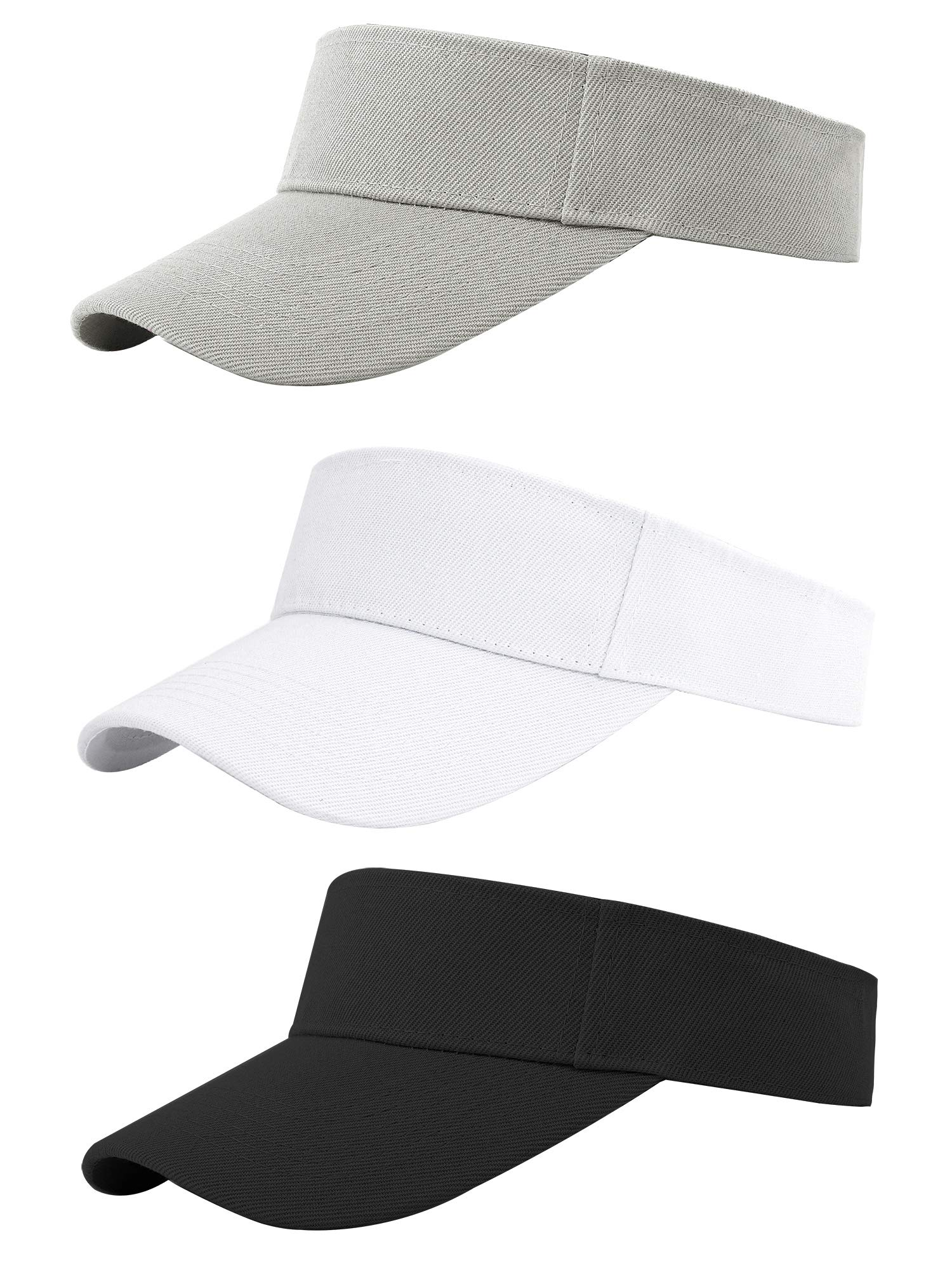 Cooraby 3 Pack Athletic Sun Visors Hats One Size Adjustable Sun Cap for Women and Men