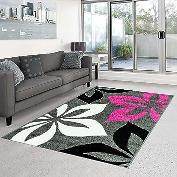 Teppich Flachflor Kurzflor Moda mit Blumen-Muster/ florales Motiv in ...