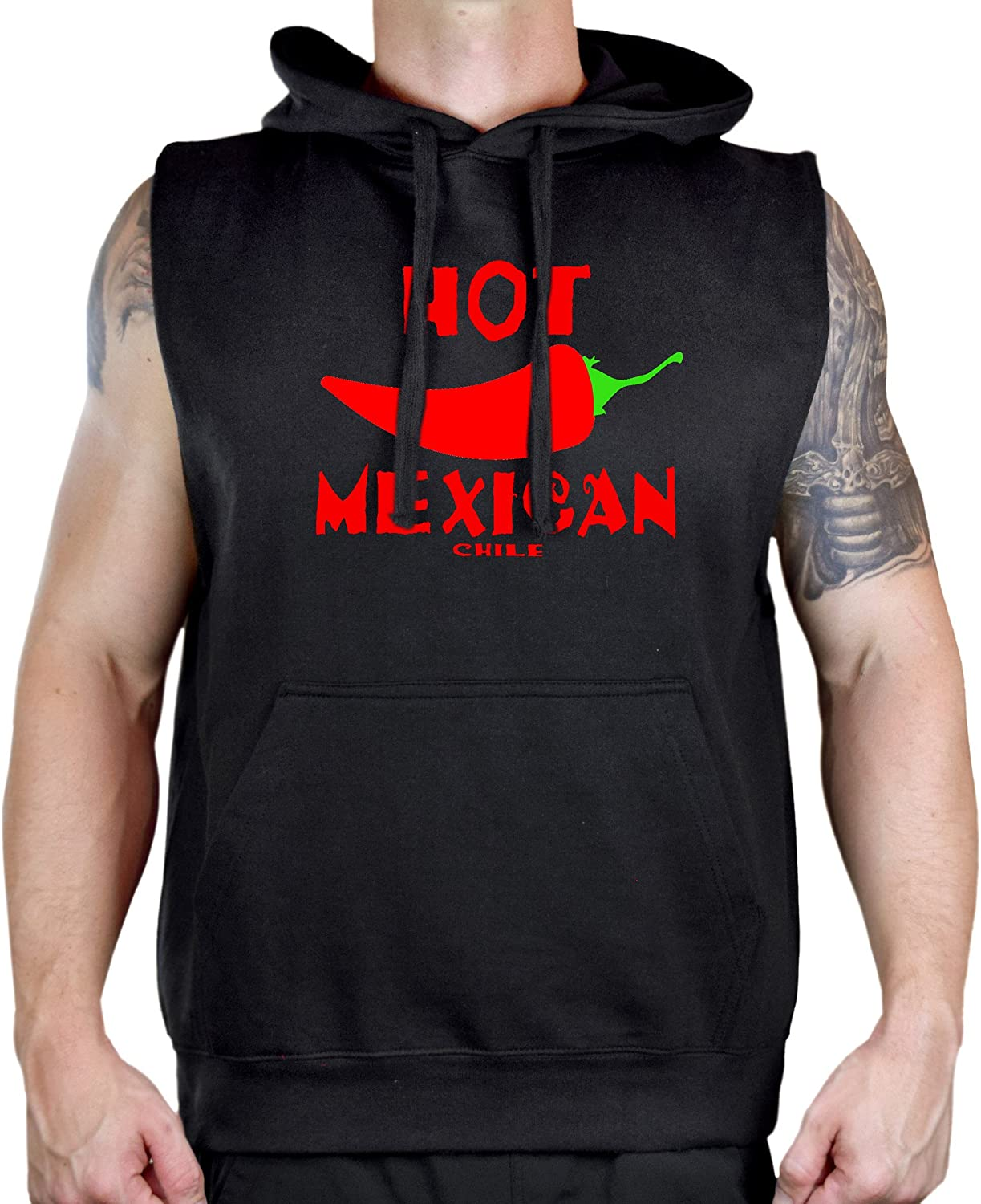 Mens Hot Mexican Chile Pepper V374 Sleeveless Vest Hoodie