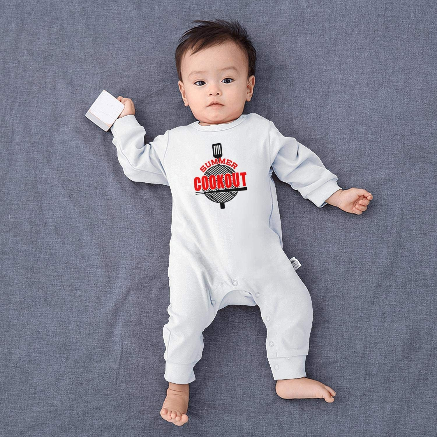 NAKHFBVi Cook-Out-Logo-Symbol Baby Boys Girls Long Sleeve Baby Onesie Jumpsuits