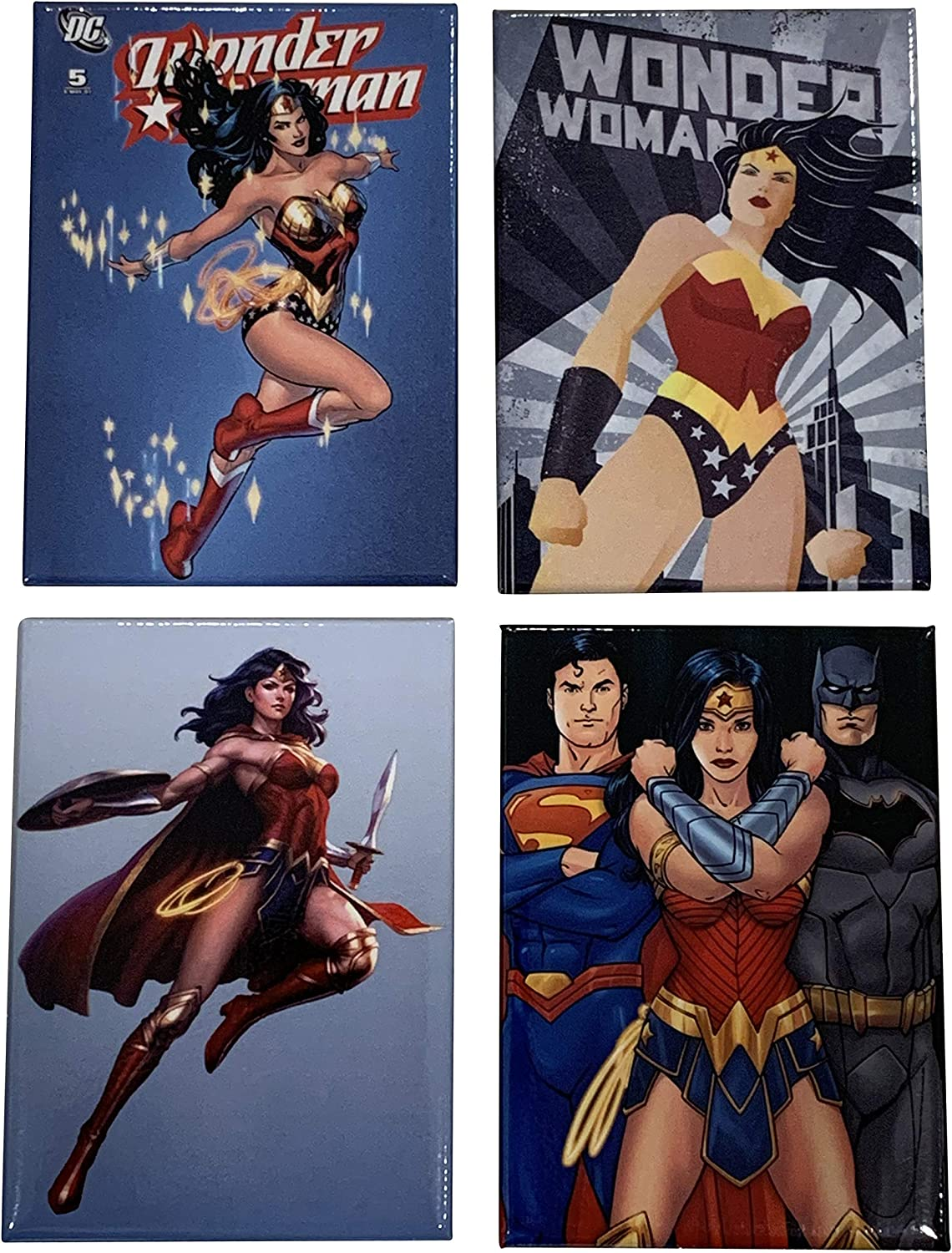 Wonder Woman Refrigerator Magnet Collection. Set of 4 Magnets Featuring Wonder Woman, Batman, and Superman