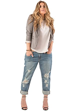 a86e54973f2f Standards & Practices Plus Size Womens Indigo Distressed Boyfriend Premium  Jeans Size 14Plus x 32Length