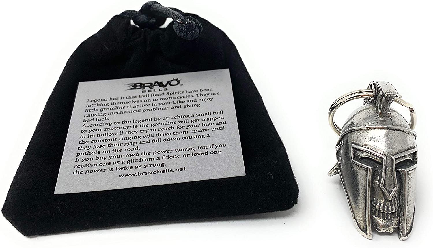 Bravo Bells Spartan Motorcycle Biker Bell Accessory or Key Chain for Luck on The Road