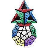 Vdealen - Juego de 3 Cubos mágicos de la colección de Velocidad, Paquete de pirámide, megaminx, Espejo, 3 x 3 x 3, Juego de Rompecabezas, Color Plateado: Amazon.es: Juguetes y juegos