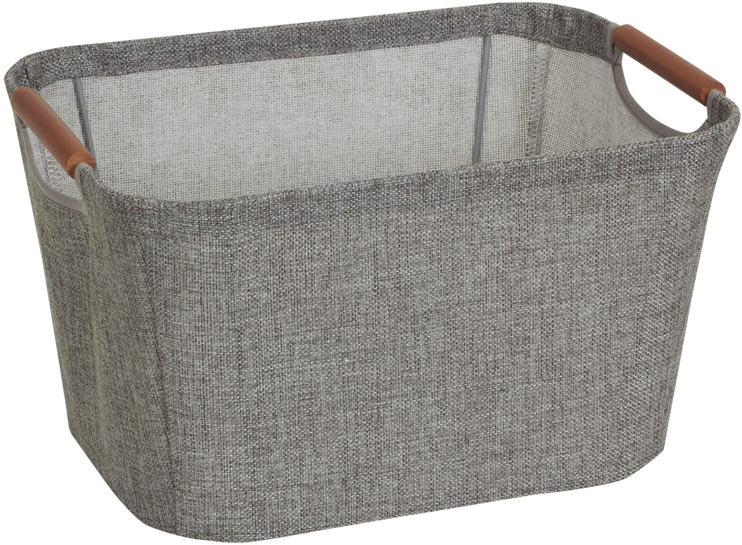 Household Essentials 623 Small Tapered Soft-Side Storage Bin with Wood Handles, Gray, Grey