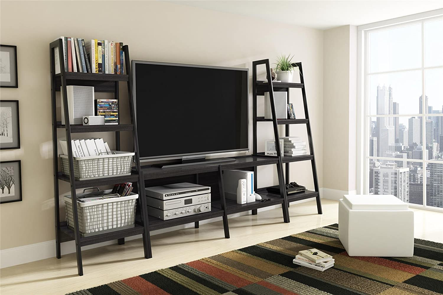 tv stands flat screens small cherry amazon com ameriwood home lawrence 4 shelf ladder bookcase bundle black kitchen dining